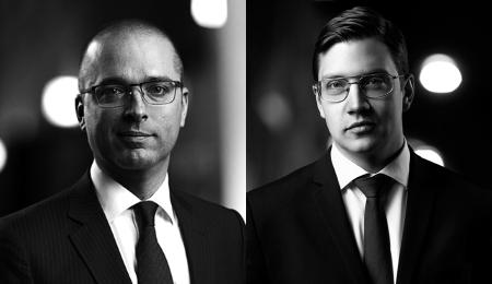Advokaten Kristian Pedersen och juristen Johan Falk.